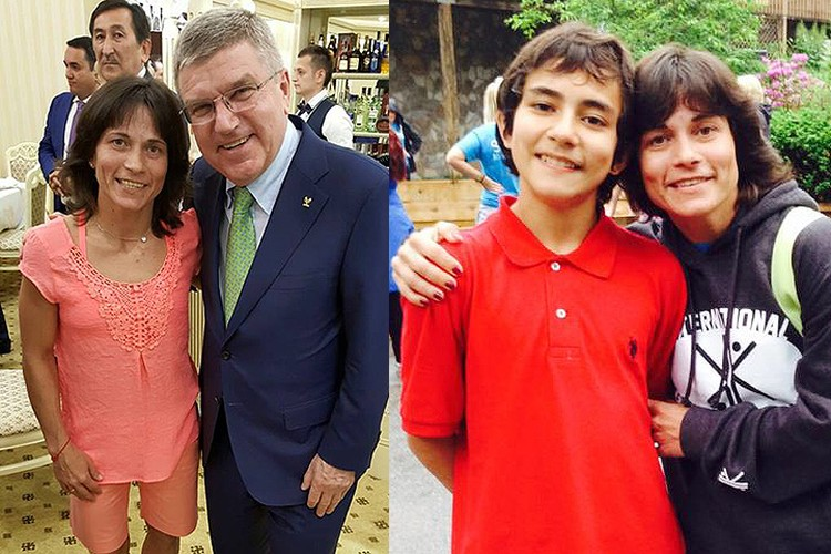 Оксана Чусовитина с президентом МОК Томасом Бахом и сыном Алишером.