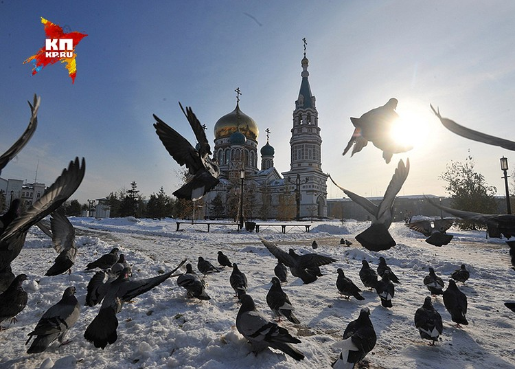 Утренний морозный Омск.