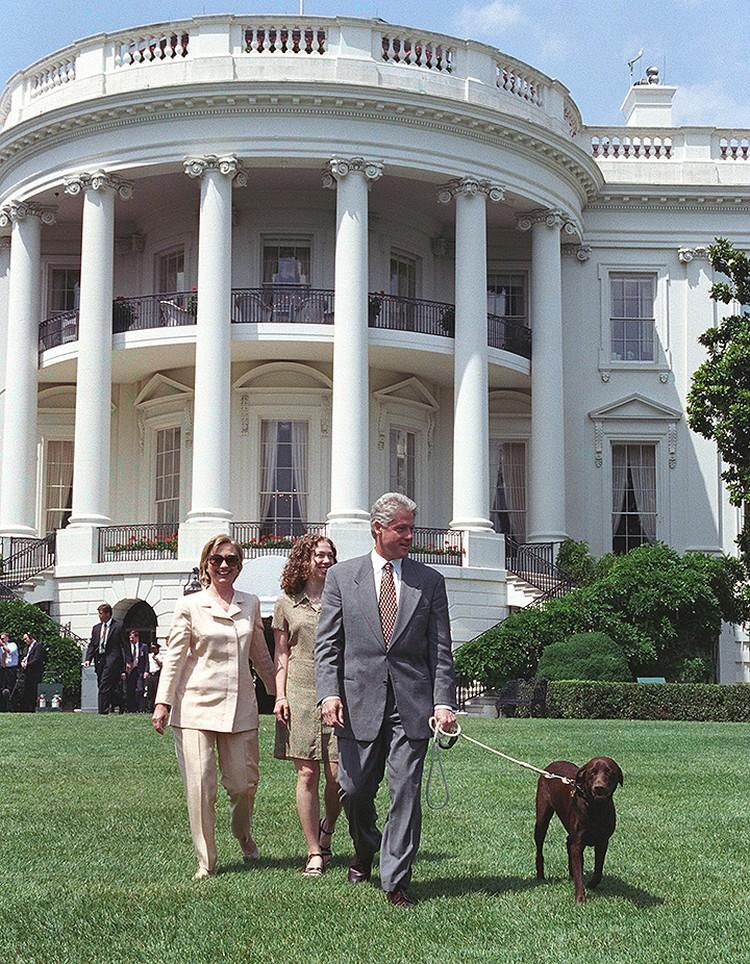 Клинтон и лабрадор Бадди.