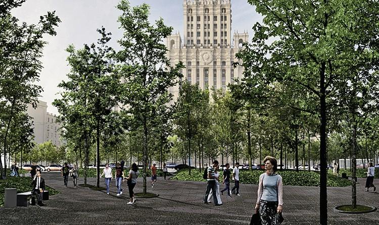 На площади Красные Ворота посадят целую рощу. Фото: mos.ru
