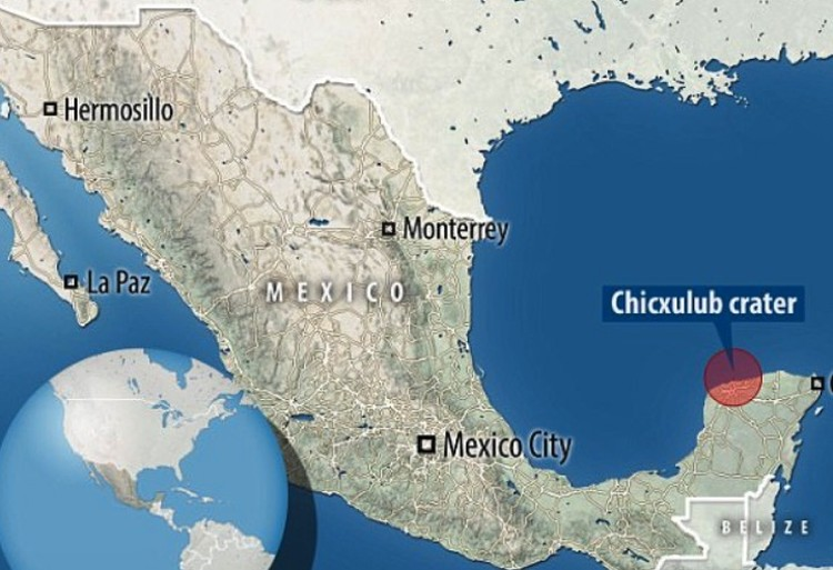 Кратер, образованный падением астероида, расположен на берегу Мексиканского залива.