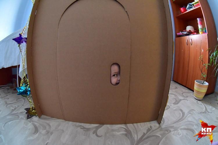 В новом доме Бесковых стоит картонный домик.
