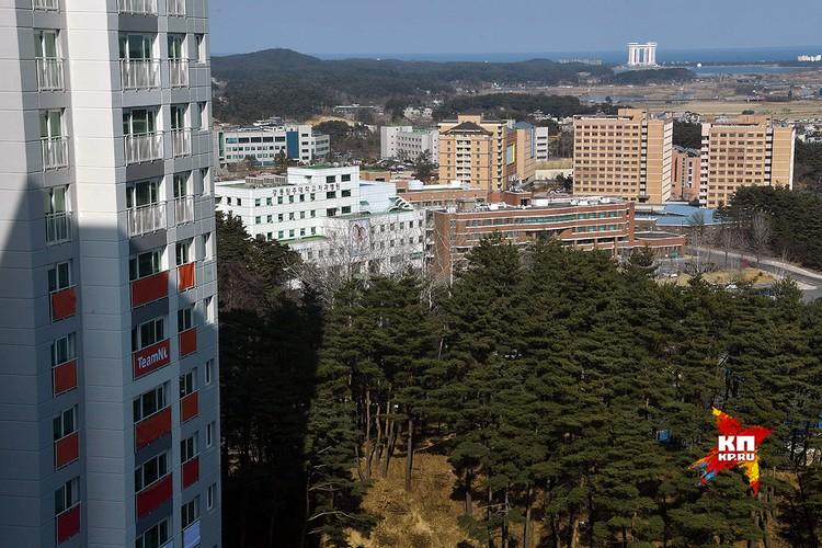 Вид на Пхенчхан из окна номера, в котором проживают наши олимпийцы.