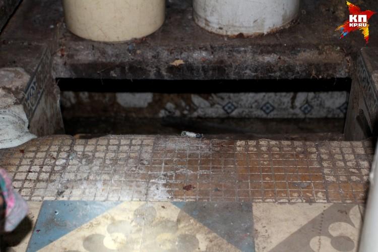 Ванная комната, пол. Под досками находится бассейн