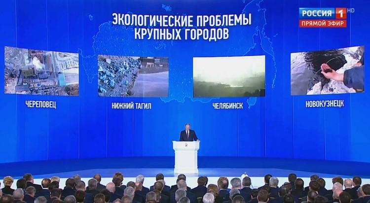 Города, упомянутые президентом в части послания, посвященной экологическим проблемам.