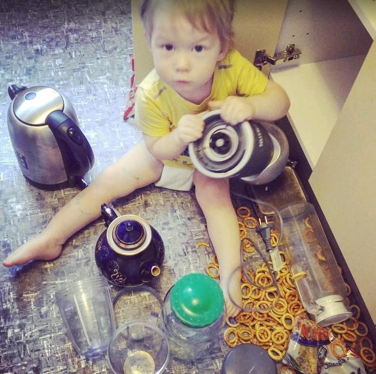 Фёдор пробрался в кухонный шкаф...