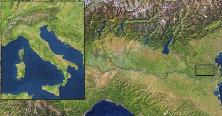Место, гды был найден скелет распятого римлянина.