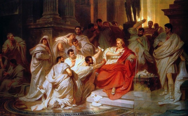 Убийство Цезаря: картина работы Карла Теодора Пилоти 1865 года.
