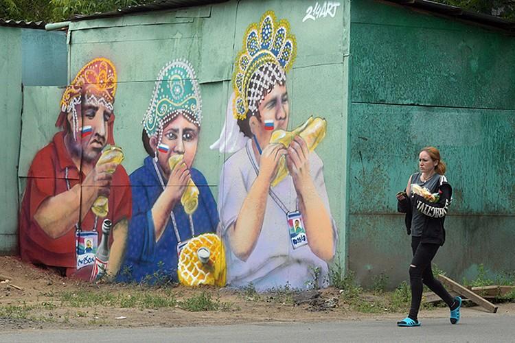 Эта троица уже появилась на московском гараже в виде граффити