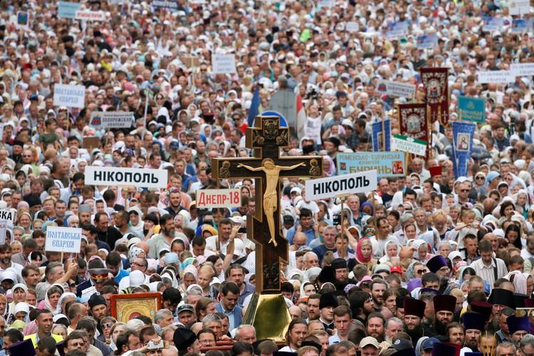 В центре украинской столицы прошел Крестный ход по случаю 1030-летия Крещения Руси