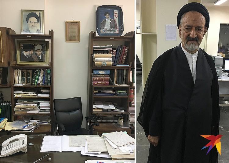 Кабинет представителя духовной власти (и сам он справа) в редакции одной из крупнейших иранских газет «Ettelaat Daily»