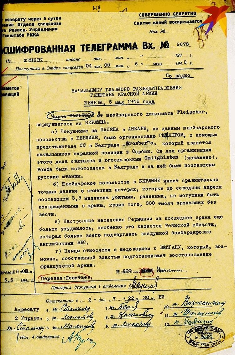 Донесение от агента Доры из Женевы 05.05.1942 г. о немецких потерях на фронтах.