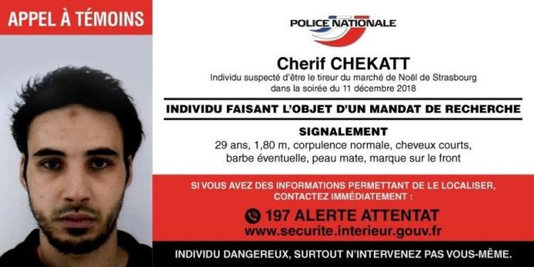 Совершивший теракт на рождественской ярмарке в Страсбурге Шериф Шекатт застрелен полицией в четверг вечером