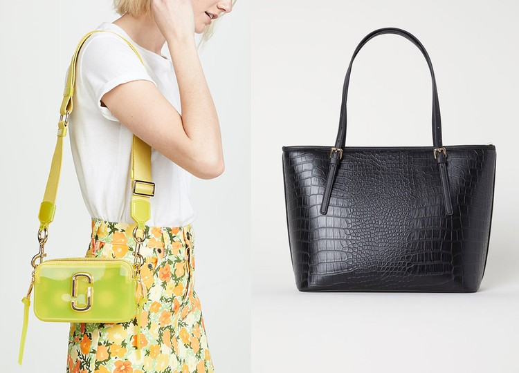 Сумка на ремне Marc Jacobs и сумка из искусственной кожи с тиснением под крокодила H&M.