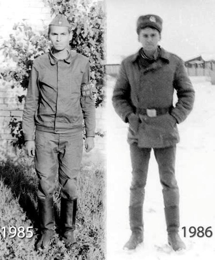 А здесь разница есть: на фото села салага в мешковатой форме, справа - старик в зауженных штанах. Фото Андрея Попова.