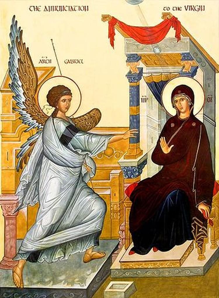 Древняя икона Благовещение.