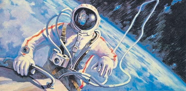 Дважды Герой Советского Союза Алексей Леонов еще и член Союза художников. Так он изобразил свой знаменитый выход в открытый космос.