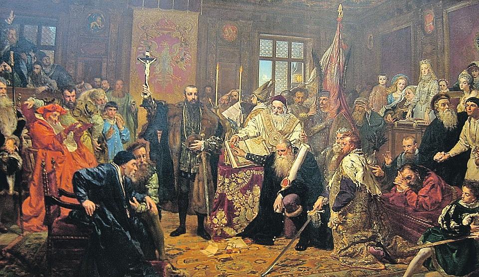 Подписание «Люблинской унии» 1569 года узаконило и ускорило дрейф Западной Руси в Европу. «Люблинская уния». Ян Матейко (1869)