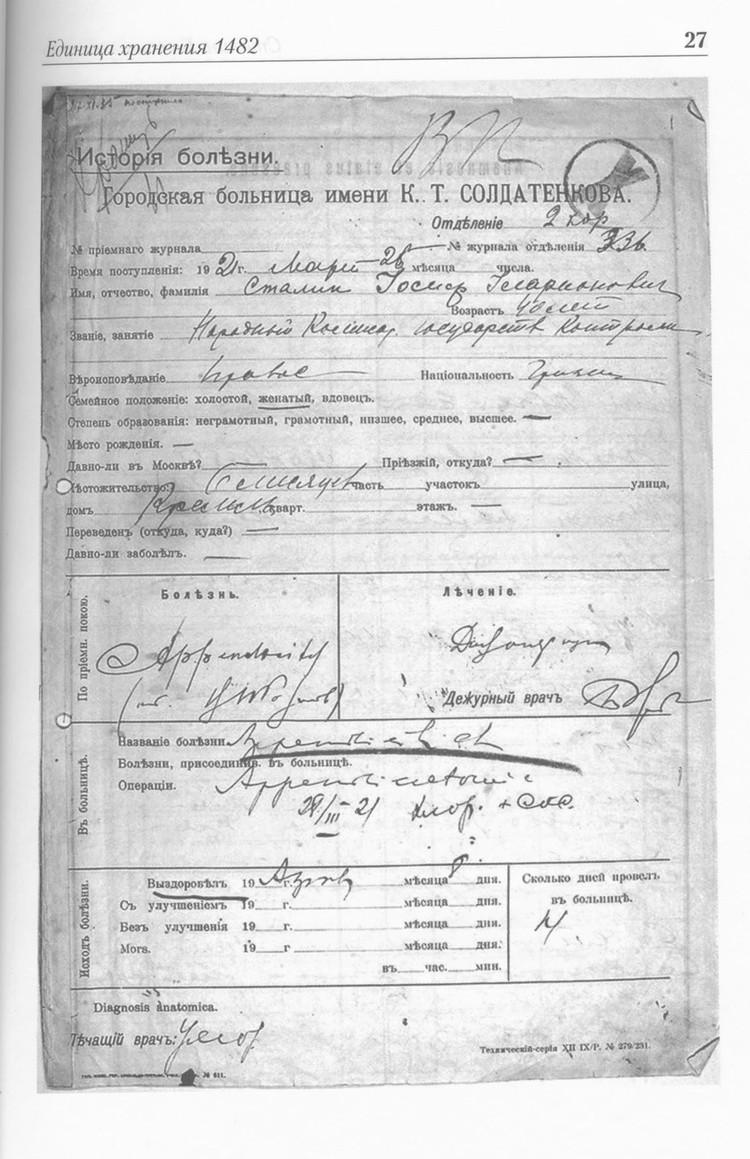 Первая история болезни была заведена 25 марта 1921 года. В городской больнице К.Т.Солдатенкова (ныне – Боткинская). Документ еще с дореволюционными «ятями».