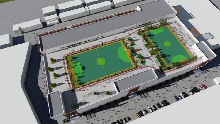 Четвертый этаж ТРК (он же крыша) будет отдан под спортивную площадку. Фото: «Сибинжиниринг»
