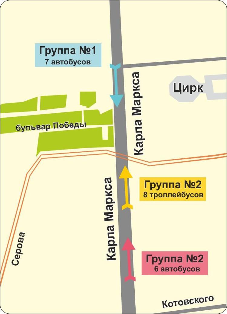 Схема следования автобусов от цирка
