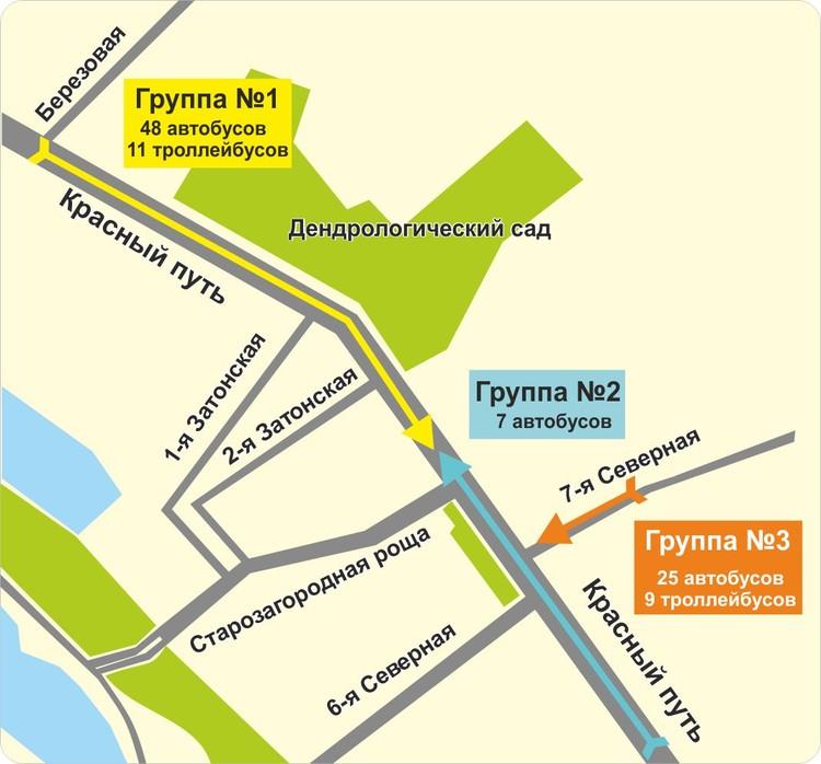 Схема следования автобусов от городка Водников