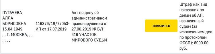 У Примадонны «висит» неоплаченный штраф по административному правонарушению в 6000 рублей.