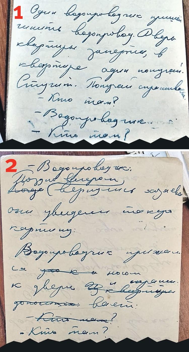 Рукопись Юрия Дружкова. Беседа водопроводчика с попугаем. Фото: Личный архив