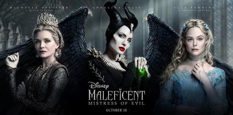 Мишель Пфайффер, Анджелина Джоли и Эль Фэннинг на афише фильма «Малефисента: владычица тьмы».