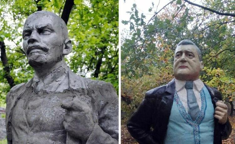 На Украине памятник Ленину переделали в Порошенко. Фото: actual.today