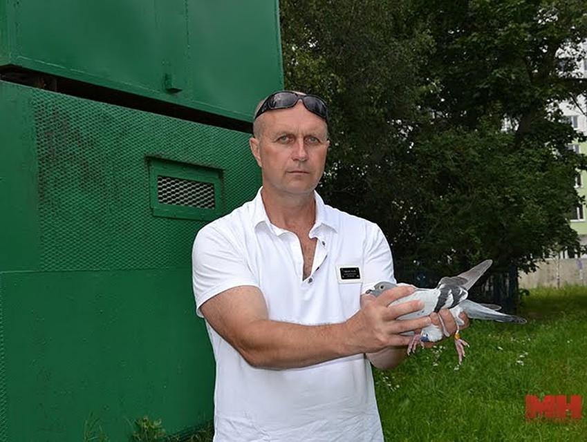 Голубевод 53-летний Леонид Добровольский. Фото: minsknews.by