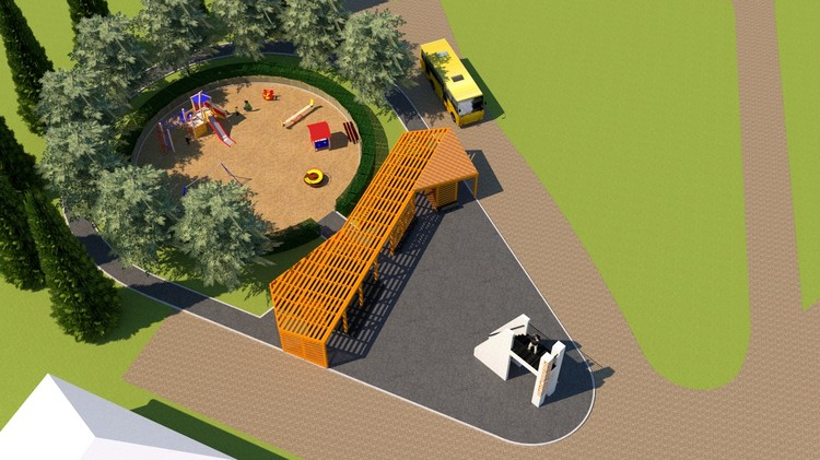 Проект павильона и детской площадки Фото: vk.com/nevezhkino_village