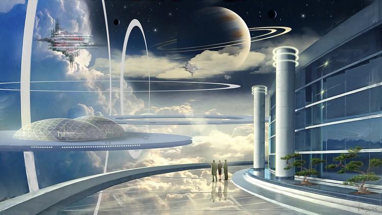 Космические города на орбите. Фото: Джеймс Вон/Министерство информации и коммуникаций Асградии.