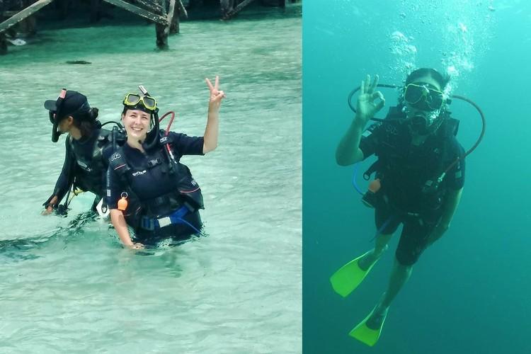 Во время путешествия по странам Азии Екатерина прошла курс обучения на острове Мабул и стала сертифицированным дайвером