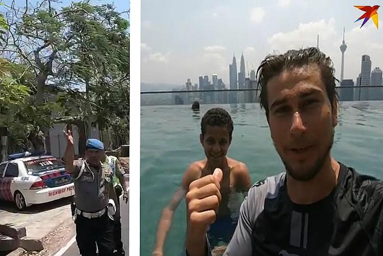 Полиция дружелюбно встречала странника, а дети принимали иностранца как родного