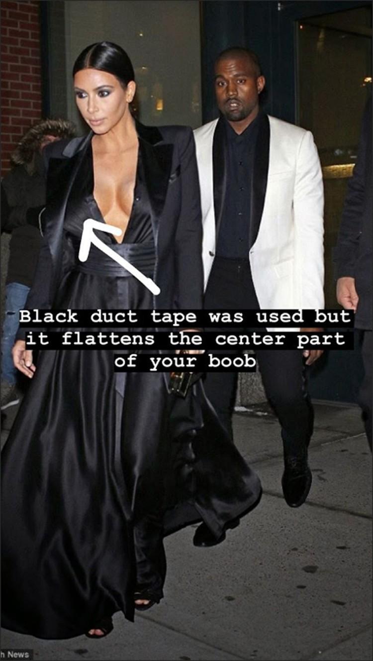 Ким опубликовала несколько снимков в одежде, под которой она носила скотч. Фото: Инстаграм.
