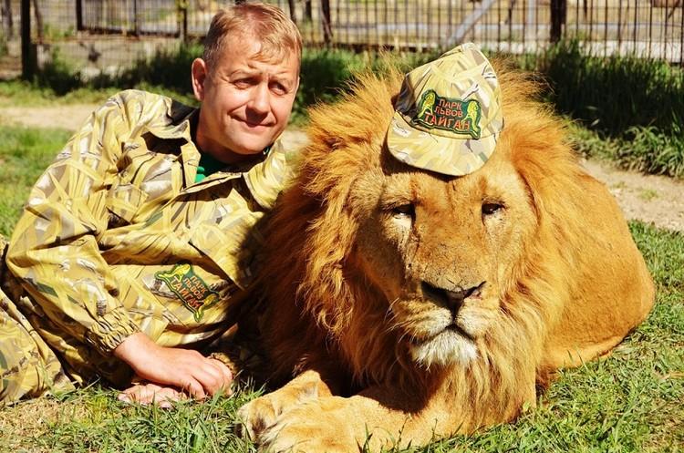 Зубков спокойно заходит к львам. Фото: пресс-служба зоопарка