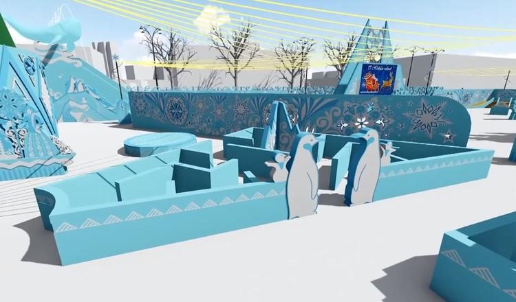 Помимо горок в ледовом городке будут еще и детские лабиринты. Фото: администрация Екатеринбурга