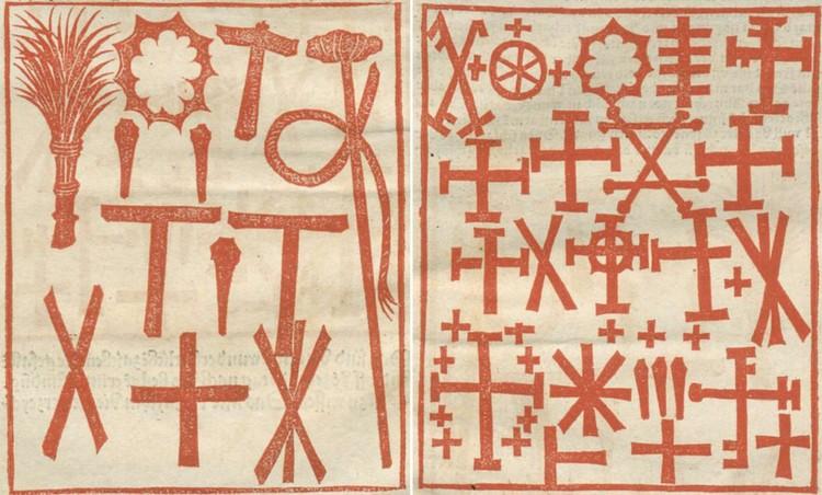 Кресты и «орудия страстей Христовых» на одежде после цветного дождя. Рисунок из трактата 1503 года. Фото: www.nypl.org