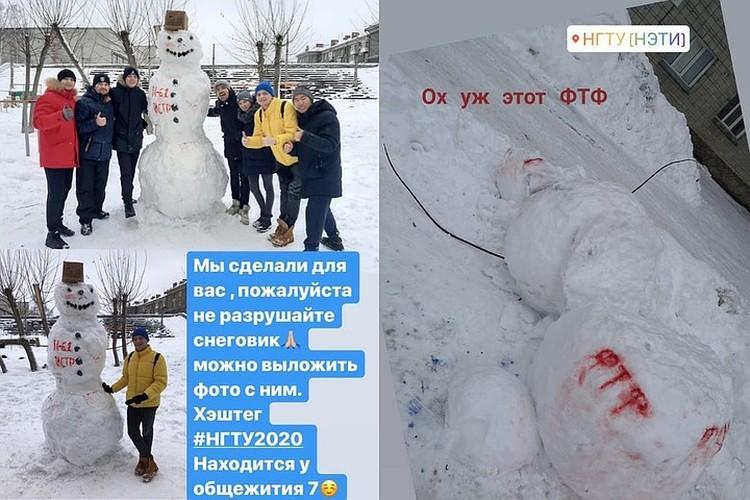 Снеговик, который стоял у общежития №7. Фото: «Признавашки НГТУ».