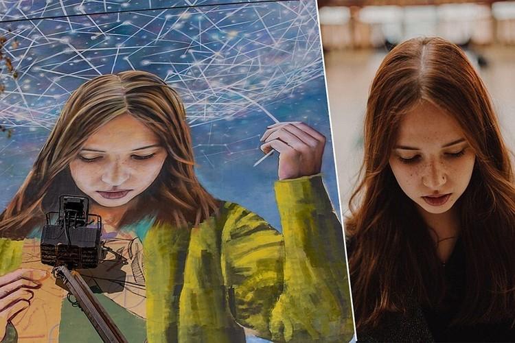 Прообразом работы «Лічбавы свет» стала минчанка Виктория Савченко. Фото: предоставлено организаторами (слева), Дарья Рысакова (справа)
