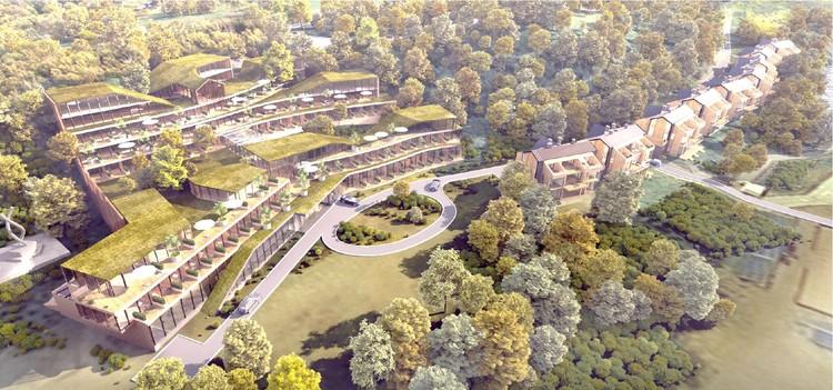 Проект гостинично-развлекательного комплекса у шахты Анна в Янтарном. Памятник жертвам холокоста - слева