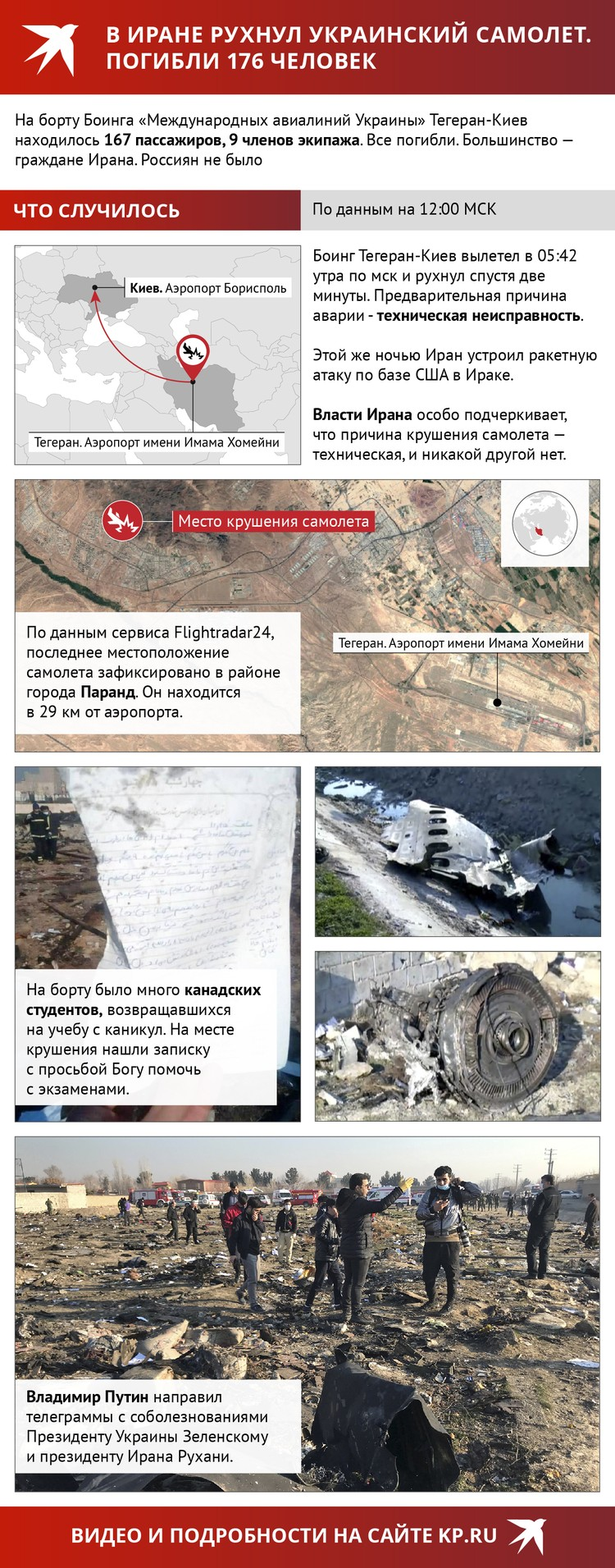 Хроника авиакатастрофы под Тегераном.