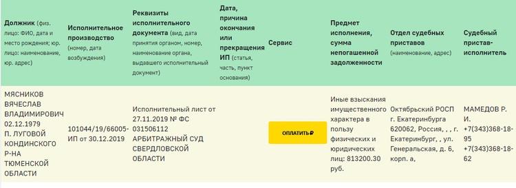 Информацию о долгах артистов можно найти на сайте ФССП