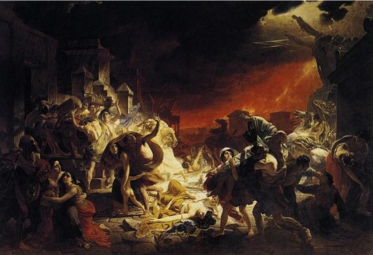 Извержение Везувия в представлении Карла Брюллова.