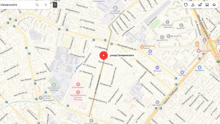 Преступление произошло на улице Сельвинского в Симферополе. Фото: Яндекс.Карты