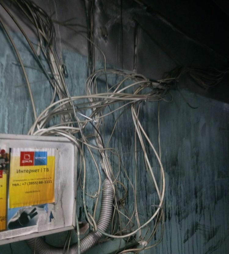 Так торчит проводка в коридорах ангарского общежития. Фото: предоставлено Юлией Арсентьевой