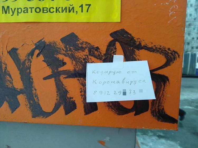 Вот такие объявления расклеивает «целитель» на улицах столицы Урала. Фото: Facebook Владислава Постникова