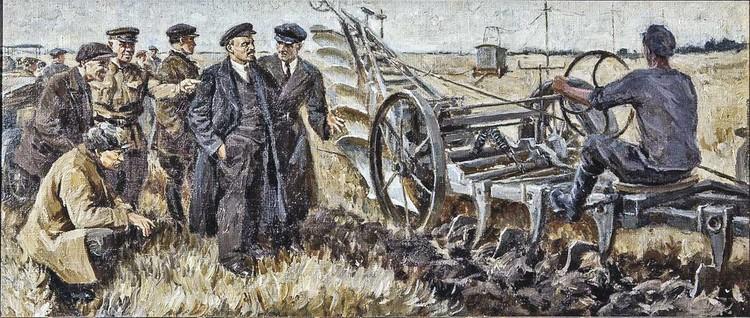 Ленин на испытаниях электрического плуга 22 октября 1921 года. Картина была написана позже - в 1939 году. Фото: Финогенов К. И./Собрание фондов Музея В. И. Ленина