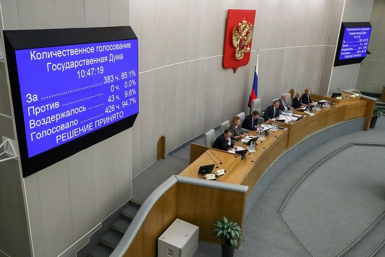 «За» проголосовали 383 народных избранника. Фото: Антон Новодережкин/ТАСС